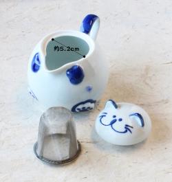 青 ポット 説明 猫 のらや 美濃焼 磁器